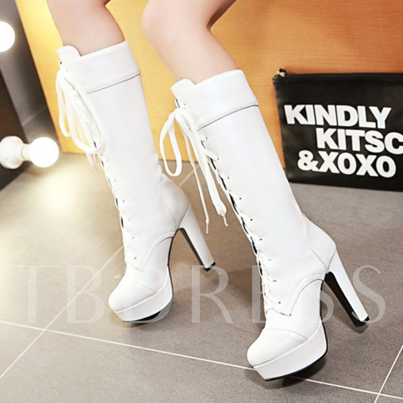 Round Toe Lace-Up Front Mid-Calf Plain Short Floss Women's Boots