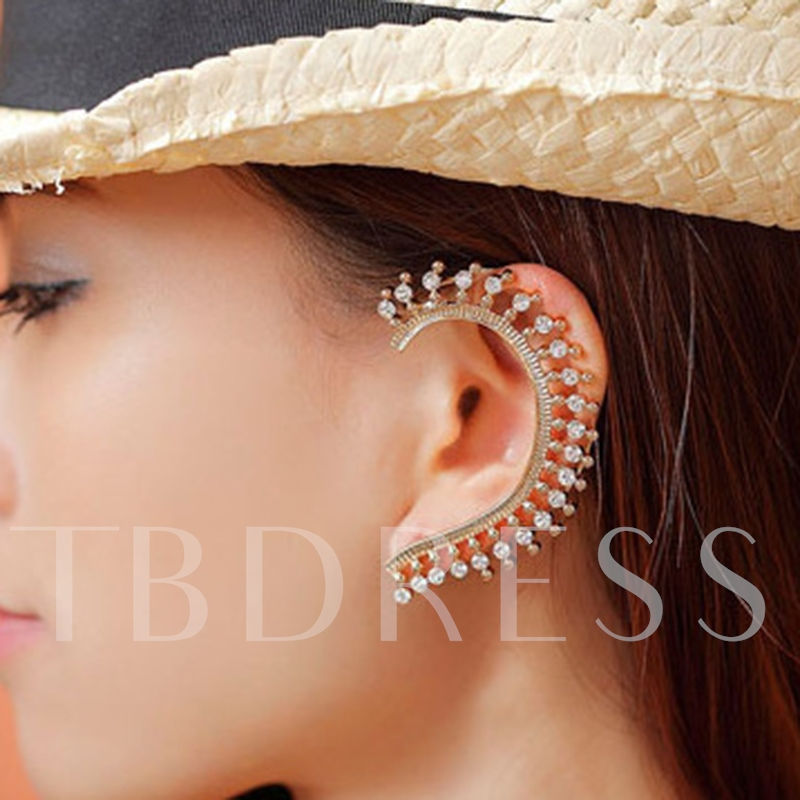 Shining Rhinestone Golden Ear Cuff