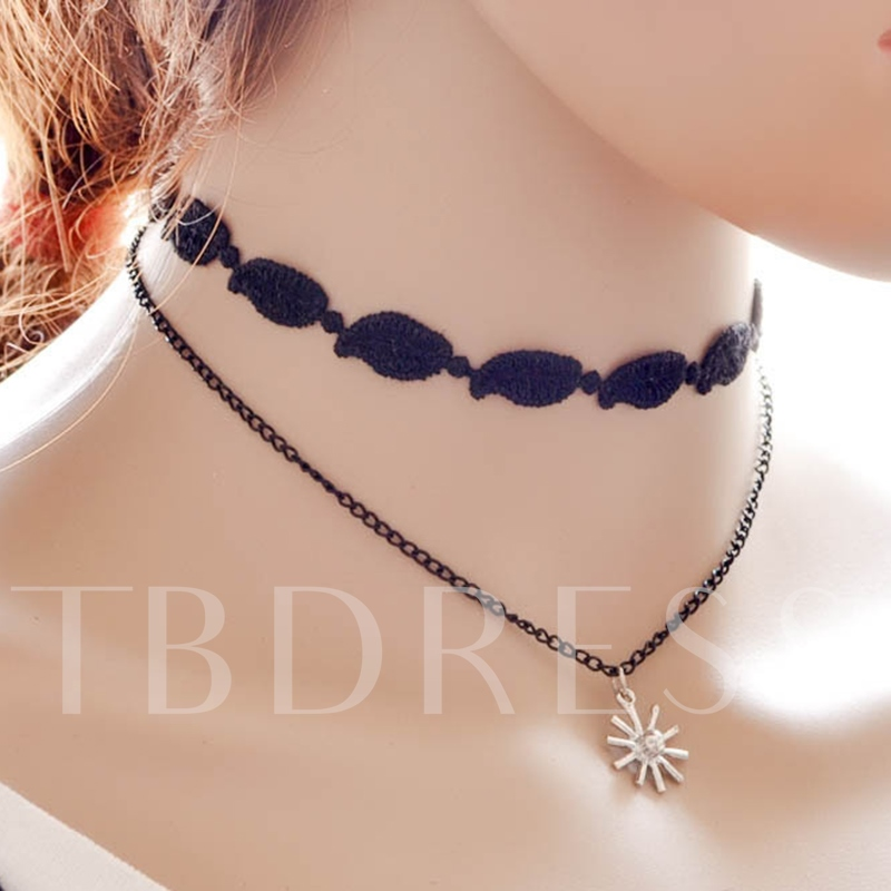 Double Layers Snowflake Pendant Choker Necklace