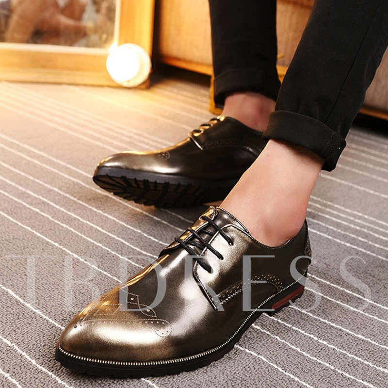 Lace-Up Front Pointed Toe Square Low Heel Men's Oxfords