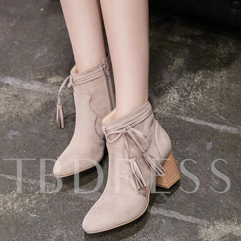 Fringe Bow Chunky Heel Nubuck Leather Korean Women's Ankle Boots