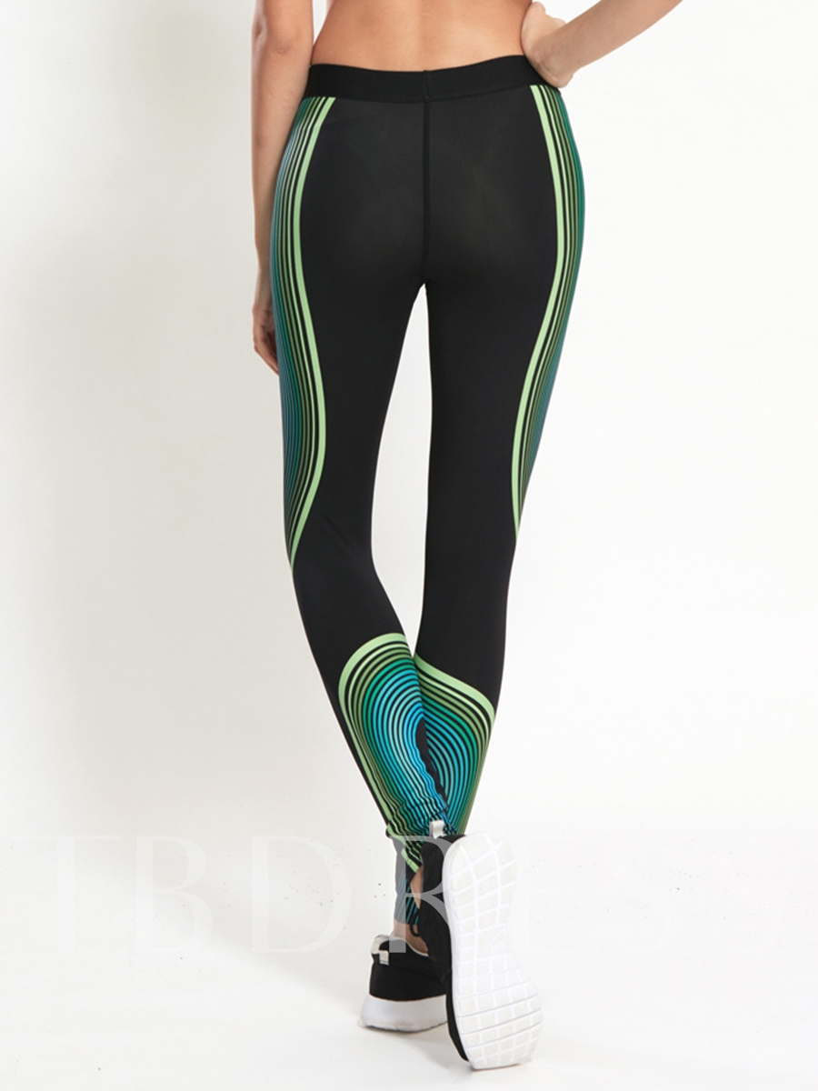 Striped Springy Anti-Pilling Women's Running Pants