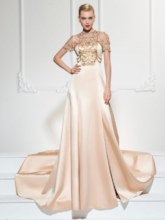 Jewel A-Line Short Sleeves Beading Split-Front Court Train Evening Dress