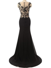 Sheath Appliques Sequins Split-Front Evening Dress