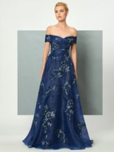 Off-the-Shoulder Appliques Lace Sequins Evening Dress