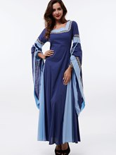 Batwing Sleeve Patchwork Pleated Women's Maxi Dress