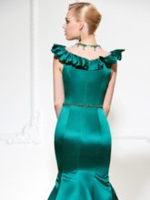 Mermaid Jewel Cap Sleeves Beading Ruffles Floor-Length Evening Dress