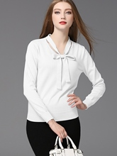 Bow Knot Detail Solid Color Round Neck Long Sleeve Women's Sweater