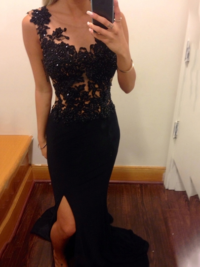Sheath Scoop Appliques Sequins Split-Front Evening Dress