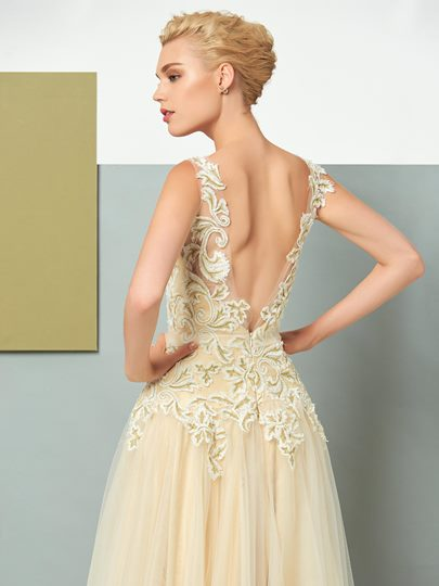 A-Line Backless Appliques V-Neck Lace Floor-Length Evening Dress