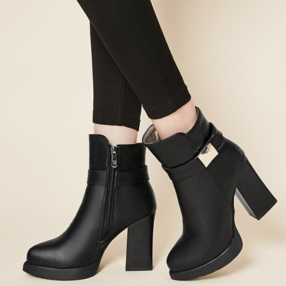 Ankle Side Zipper Plain Platform Chunky Heel Women's Boots