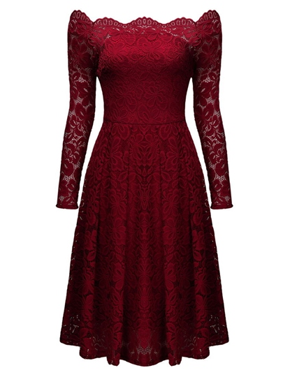 Burgundy Slash Neck Off-the-Shoulder Women's Lace Dress