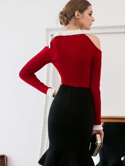 Bow Knot Cold Shoulder Long Sleeve Women's Sweater