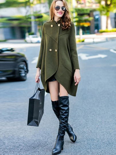 Double-Breasted Asymmetric Solid Color Stand Collar Long Sleeve Women's Overcoat