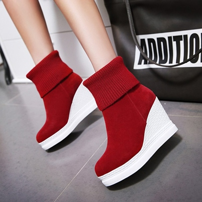 Round Toe Slip-On Ankle Short Floss Platform Women's Boots