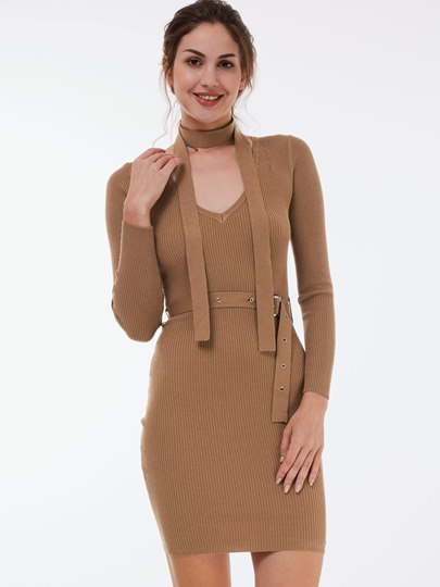 Fashion Elegant Plain Long Sleeve Women's Bodycon Dress