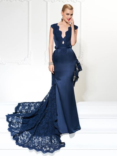 Mermaid Sashes V-Neck Lace Evening Dress