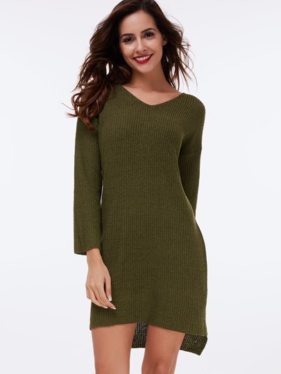 Plain Asymmetric Mid-Length Women's Sweater