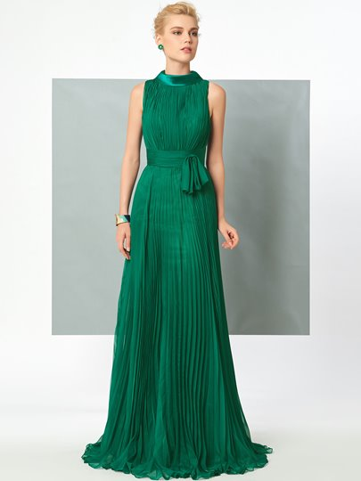 High Neck A-Line Pleats Sashes Evening Dress