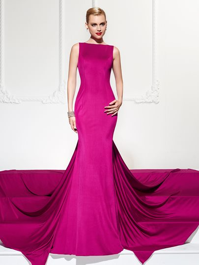 Bateau Trumpet Backless Watteau Train Evening Dress