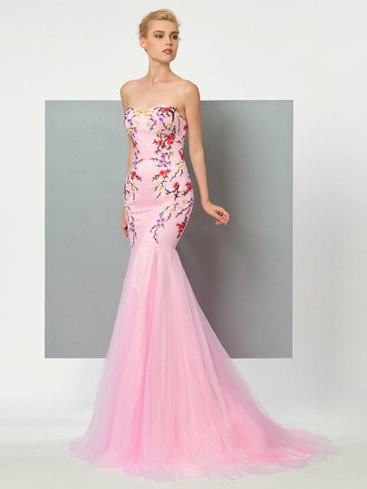 Mermaid Sweetheart Appliques Embroidery Court Train Evening Dress