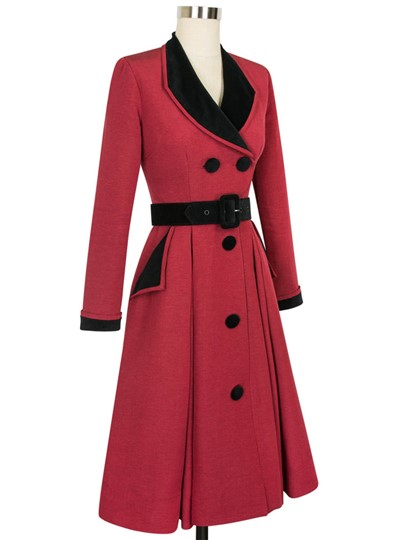 Single-Breasted Lapel Color Block Women's Overcoat