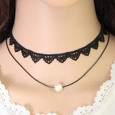 Pearl Embellished Lace Choker Necklace