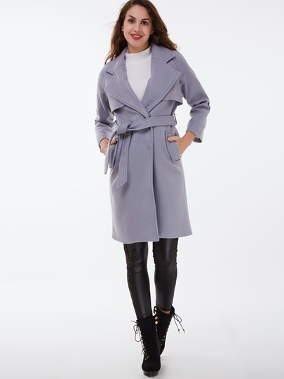 Hidden Button Lapel Pockets Women's Overcoat