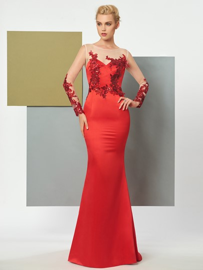 Mermaid Scoop Long Sleeves Appliques Sequins Sweep Train Evening Dress