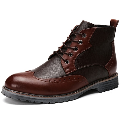 Round Toe Color Block Ankle Men's Boots