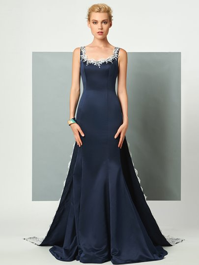 Straps A-Line Appliques Lace Watteau Train Evening Dress