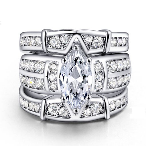 Three Layers Marquise Cut Zircon Design Ring
