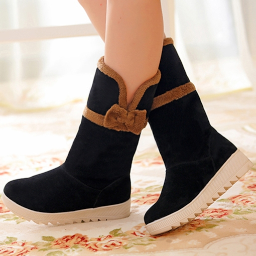 Contrast Color Round Toe Slip-On Bowtie Mid-Calf Suede Women's Boots
