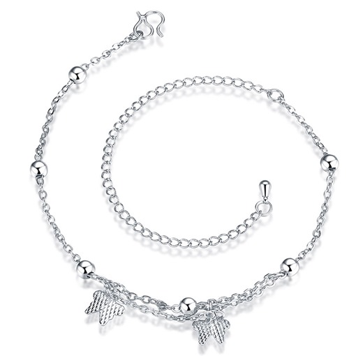 Butterfly Pendant Silver Plated Anklet