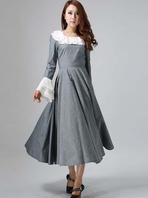 Round Neck Long Sleeve Mid-Calf Patchwork Expansion Women's Dress