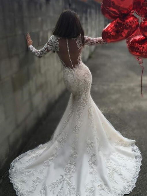 Sheer Back Appliques Mermaid Wedding Dress with Long Sleeve