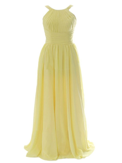 Jewel Neck Floor-Length A Line Bridesmaid Dress