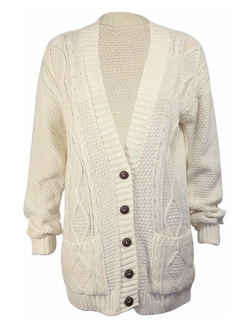 Single-Breasted Deep V-Neck Women's Cardigan