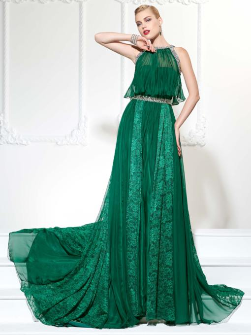 Jewel A-Line Beading Lace Court Train Evening Dress