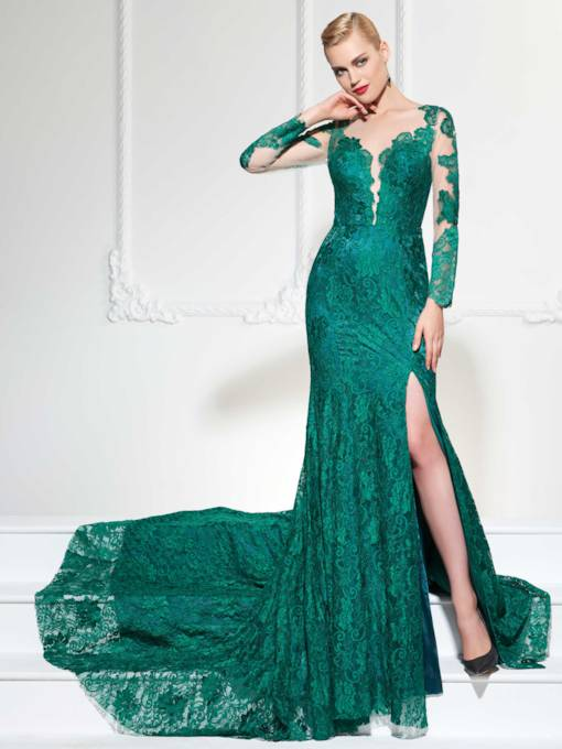 Trumpet V-Neck Button Lace Split-Front Court Train Evening Dress