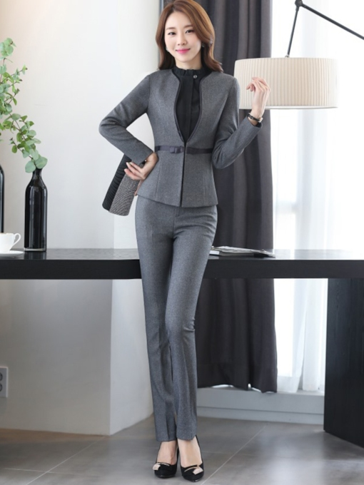 Slim V-Neck Jacket Pants Women's Suit