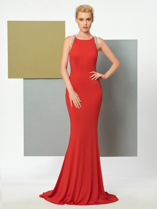 Scoop Mermaid Beaded Brush Train Evening Dress