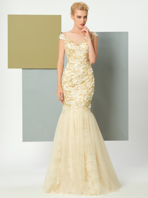 Scoop Mermaid Cap Sleeeves Appliques Lace Floor-Length Evening Dress