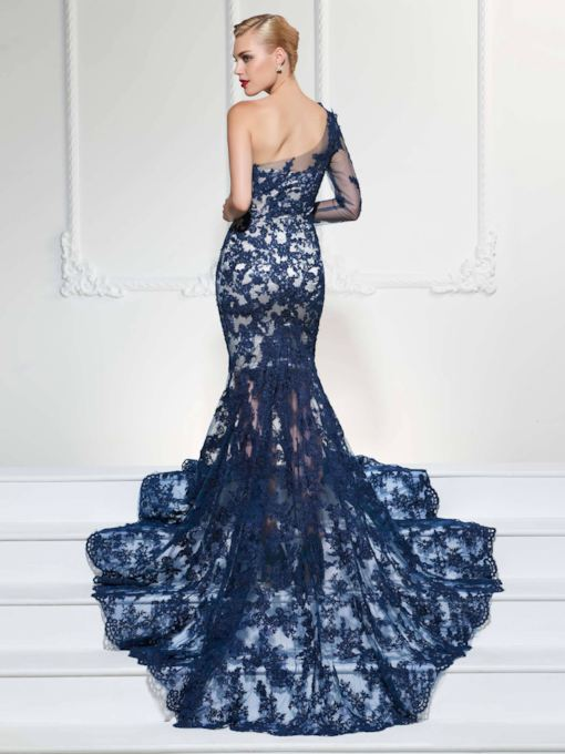 Mermaid One-Shoulder Long Sleeves Appliques Lace Court Train Evening Dress