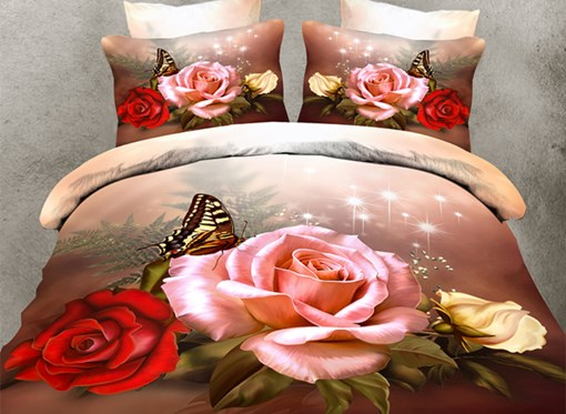 3D Roses and Butterfly Printed Polyester 4-Piece Bedding Sets/Duvet Covers