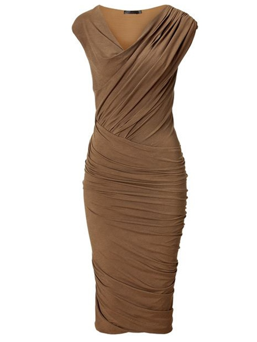 Pleated Elegant Plain V-Neck Cotton Blends Women's Sheath Dress