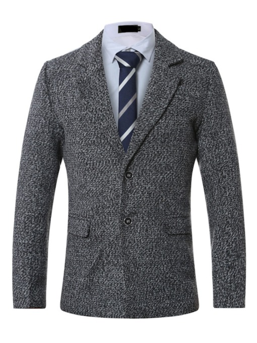 Woolen Two Button Notched Lapel Men's Blazer