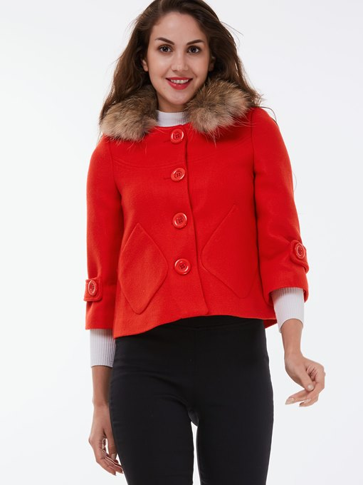 Faux Fur Collar Three-Quarter Sleeve Women's Overcoat
