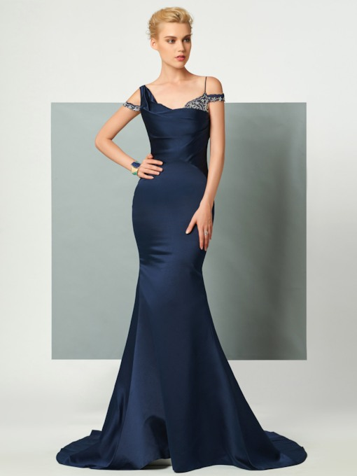 Straps Mermaid Beading Court Train Evening Dress
