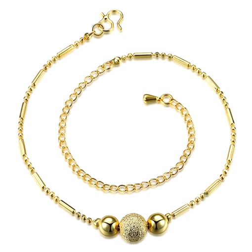 Three Beads Gold Plated Anklet